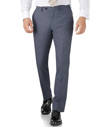 Light blue slim fit sharkskin travel suit pants