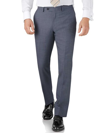 Light blue slim fit sharkskin travel suit pants