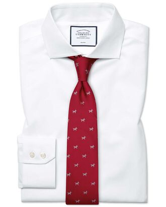 Slim fit spread collar non-iron poplin white shirt