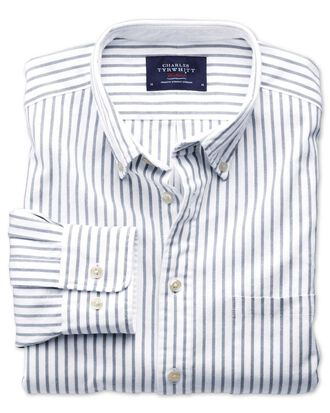 Slim fit grey stripe washed Oxford shirt