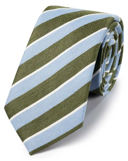 Sky blue and green linen silk stripe classic tie