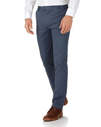 Airforce blue extra slim fit flat front non-iron chinos