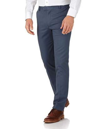 Pantalon chino bleu acier extra slim fit à devant plat sans repassage