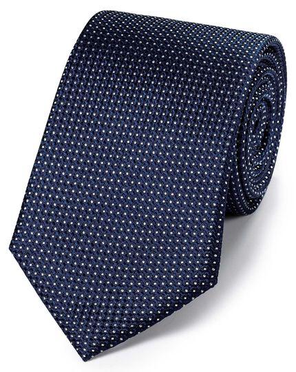 Navy silk pindot semi plain classic tie