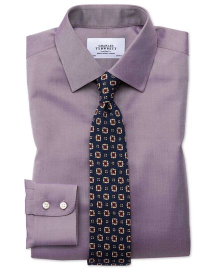 Classic fit non-iron twill dark purple shirt