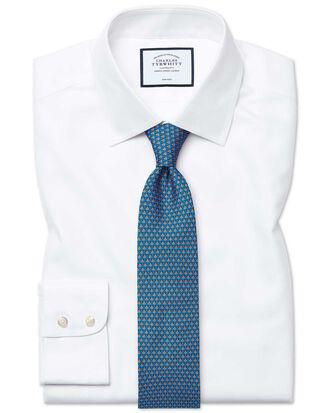 Slim fit non-iron royal Panama white shirt