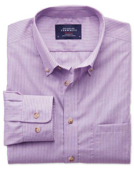 Bügelfreies Extra Slim Fit Hemd aus Popeline in Flieder mit Streifen