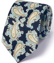Luxuriöse italienische Krawatte aus Baumwoll-Mix in Marineblau mit Paisley-Muster
