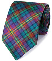 Purple and green silk multi check English luxury tie