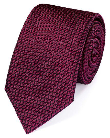 Dark pink silk plain grenadine luxury tie