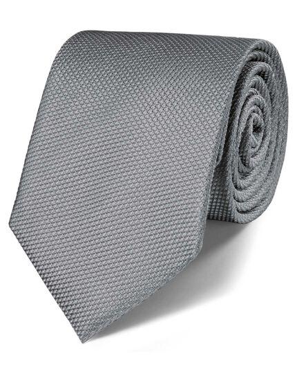 Silver silk classic plain tie