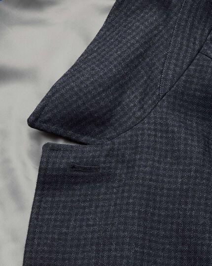 Navy patterned wool car coat