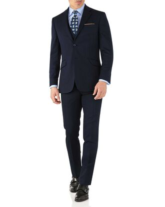 Costume business bleu marine slim fit à motif milleraies