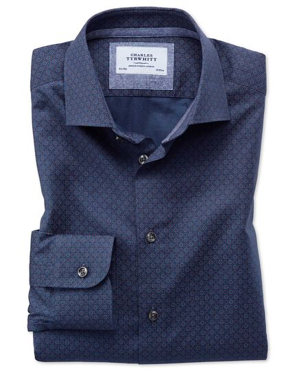 Extra slim fit semi-spread collar business casual print navy blue multi shirt