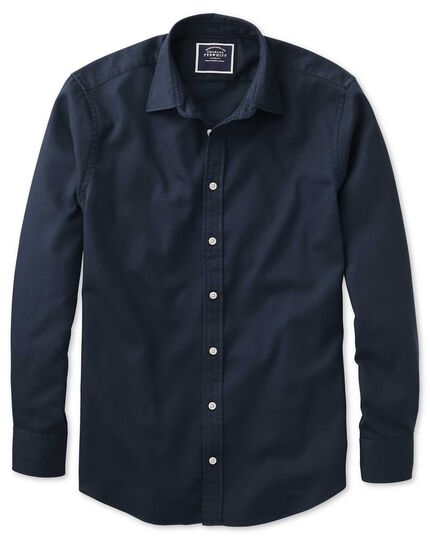 Classic fit washed dark navy honeycomb textured shirt