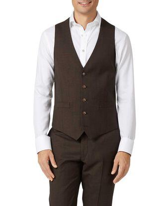 Chocolate adjustable fit sharkskin travel suit waistcoat