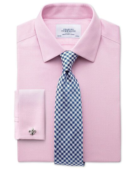 Extra slim fit non-iron honeycomb pink shirt