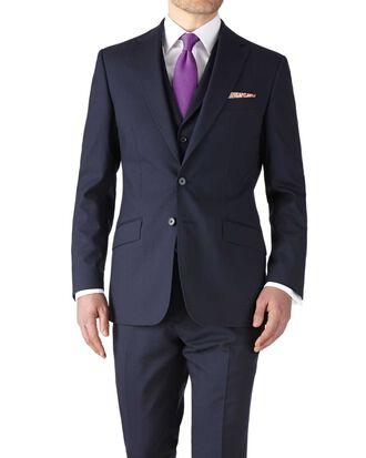 Navy slim fit flannel business suit jacket