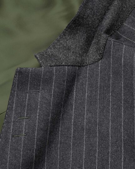 Charcoal stripe slim fit flannel business suit jacket