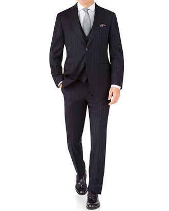 Classic Fit Business Anzug aus Twill in Marineblau mit Streifen