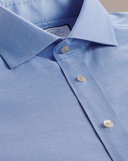 Slim fit cutaway non-iron cotton stretch Oxford mid blue shirt