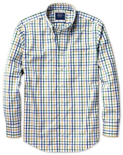 Chemise verte en popeline coupe droite à carreaux et col boutonné sans repassage