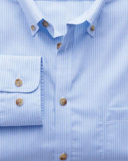 Extra slim fit non-iron poplin sky blue stripe shirt