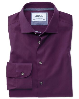 Extra slim fit semi-spread collar business casual non-iron modern textures dark purple shirt