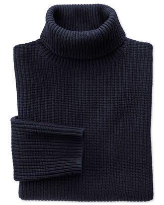 Navy rib roll neck sweater