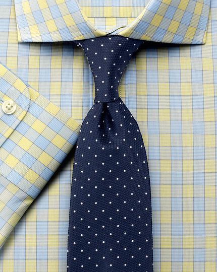 Slim fit city gingham cutaway yellow shirt