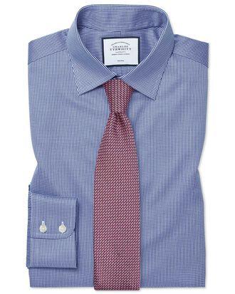 Slim fit non-iron puppytooth royal blue shirt