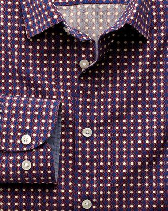 Slim fit blue and orange spot print shirt