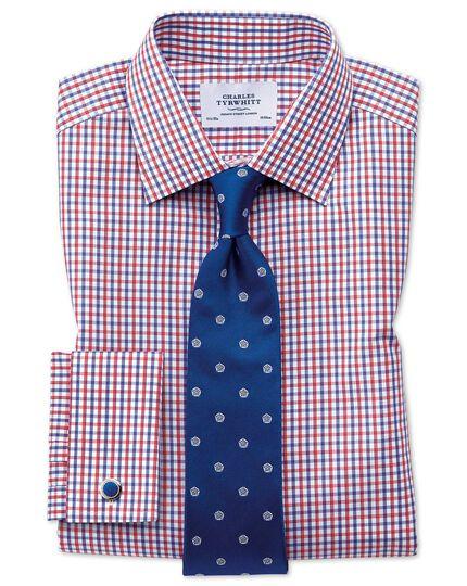 Extra Slim Fit Hemd in Rot und Blau mit zweifarbigen Karos