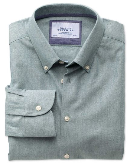 Extra slim fit button-down collar business casual green shirt