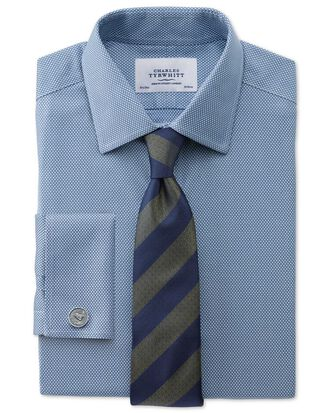 Slim fit non-iron honeycomb mid blue shirt