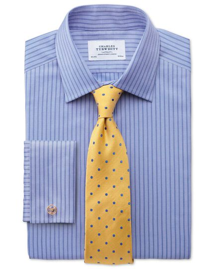 Classic fit Egyptian cotton textured stripe sky blue shirt