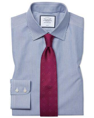 Chemise bleu marine coupe droite à rayures Bengale sans repassage