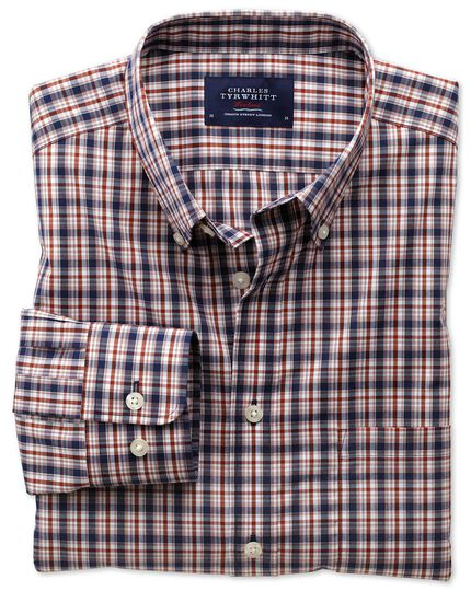 Slim fit non-iron poplin blue and orange check shirt