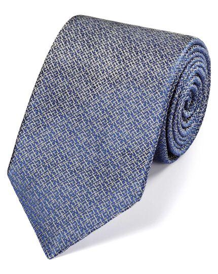 Blue and white silk textured luxury tie