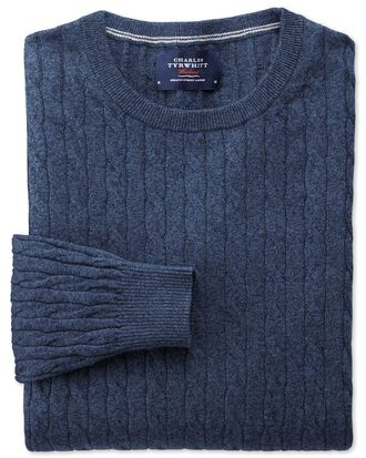 Indigo cotton cashmere cable crew neck sweater