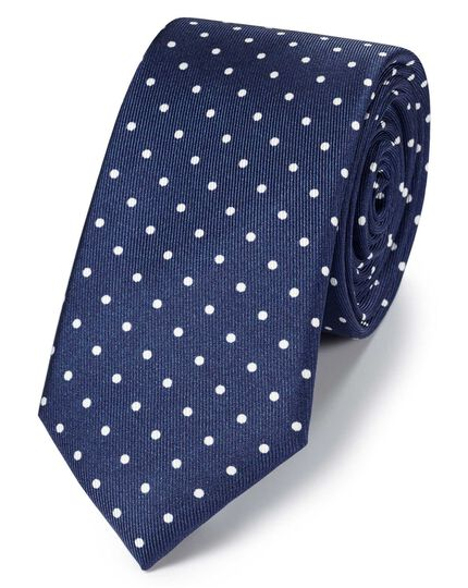Navy and white silk slim printed spot classic tie