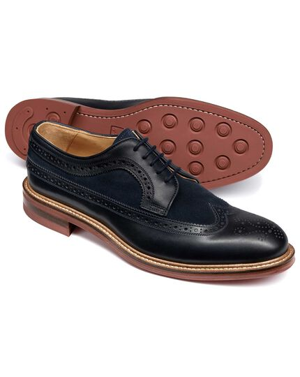 Navy Lanescot brogue wing tip Derby shoe