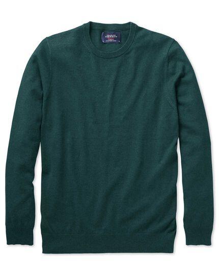 Mid green cotton cashmere crew neck sweater