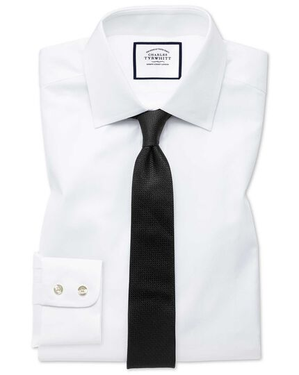 Extra Slim Fit Hemd mit feinem Fischgrätmuster in Weiß