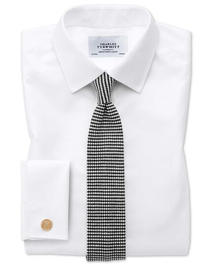 Black and white wool slim knitted classic tie