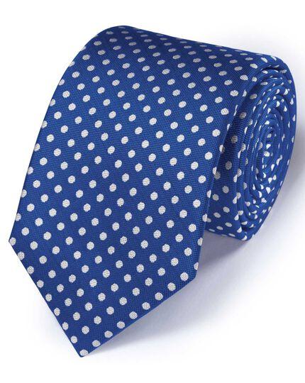 Cravate classique bleue à pois en soie Oxford