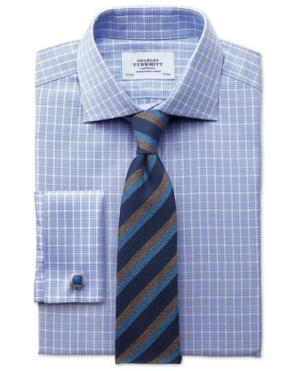 Classic fit Prince of Wales basketweave sky blue shirt