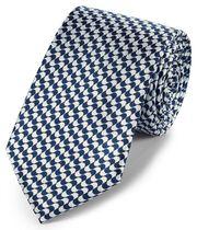 Navy blue and white silk geometric classic tie