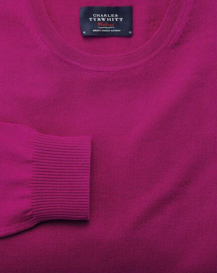 Fuchsia merino crew neck sweater