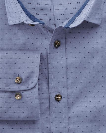 Slim fit blue dobby chambray shirt
